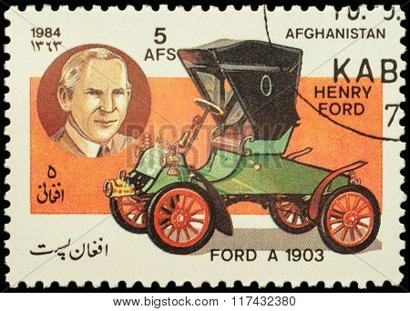 Old Car Ford A (1903) On Postage Stamp