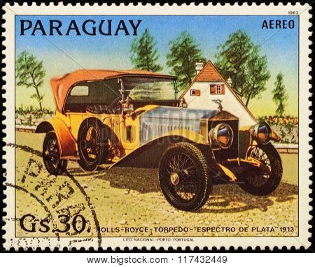 Old Car Rolls-royce Silver Ghost (1913) On Postage Stamp
