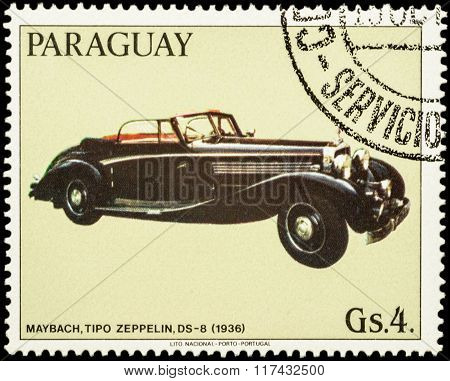 Old Car Maybach Zeppelin Ds-8 (1936) On Postage Stamp
