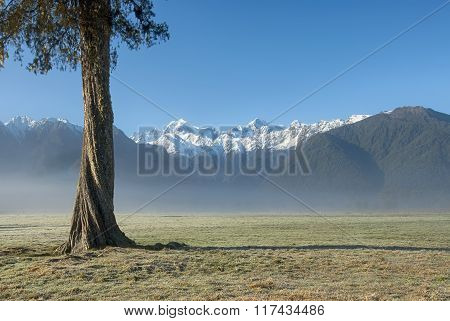 Mt Cook and Mt Tasman, early morning, New Zealand