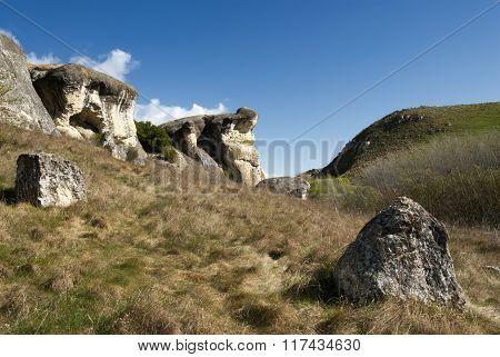 Frog Rock and farmland, Canterbury,New Zealand