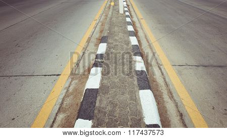 Black Asphalt Concrete Road With Two Lane