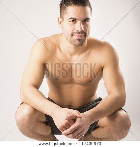 Muscular beautiful homosexual model