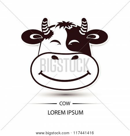 Cow Face Beatific Smile Logo And White Background Vector Illustration
