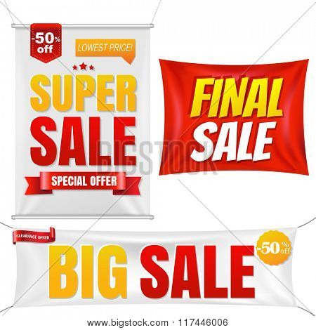 Sale Banners With Gradient Mesh, Vector Illustration
