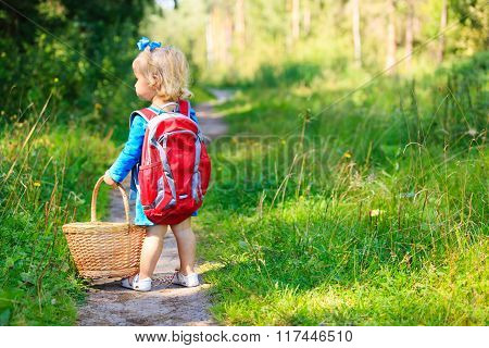 cute little girl picking mushrooms in summer forest