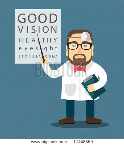 Ophthalmologist near the poster with letters
