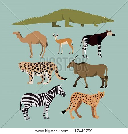 Vector Set Of Different African Animals. Animals of the African savanna Dromedary camel, crocodile,