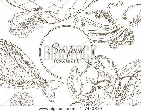 Seafood and fish background.