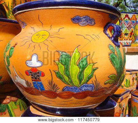 Desert Vista Design On Mexican Pottery