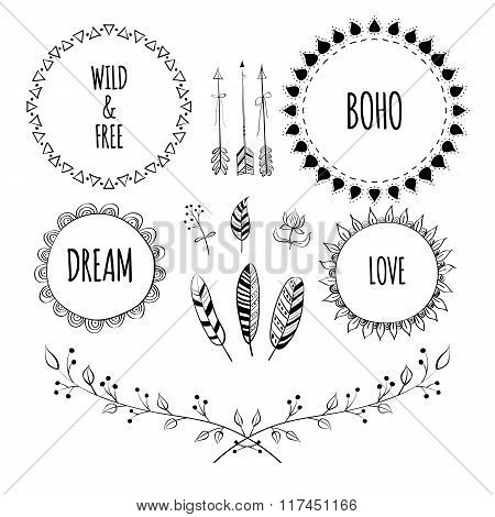 Set of Boho Style Frames and hand drawn elements. Hand drawn sign in boho style with arrows and feat