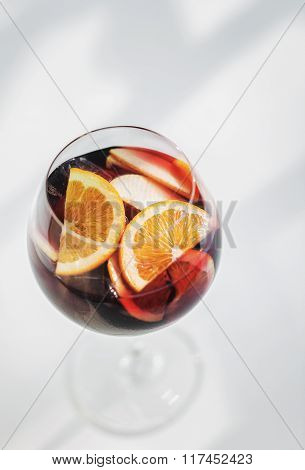 Glass Of Red Wine Sangria Spanish Mixed Drink