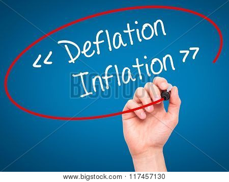 Man Hand Writing Deflation - Inflation With Black Marker On Visual Screen.