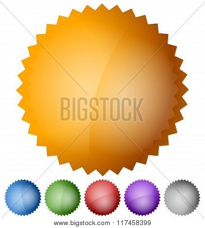 Starburst, Badge Design Elements With Empty Space In 6 Colors