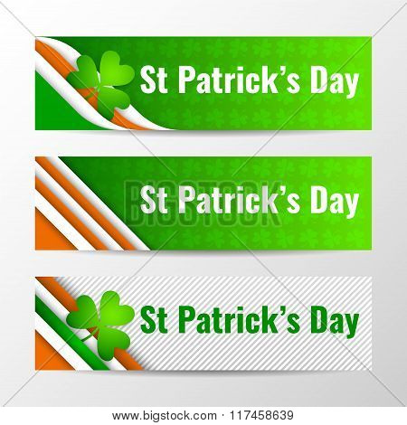 Set Of Modern Vector Horizontal Banners, Page Headers With Text For St Patrick's Day. Vector Ill