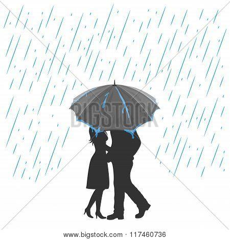 Lovers Under An Umbrella