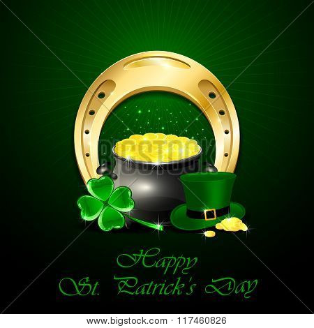 Patricks Day Background With Golden Horseshoe And Pot Of Gold