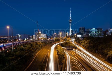 Auckland City Lights  Auckland's Night Traffic after dusk