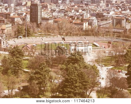 Aerial view of Parco Sempione park in the city of Milan in Italy vintage poster
