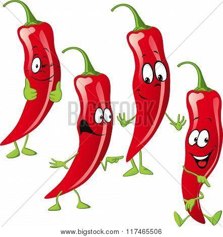 chili pepper cartoon isolated on white background