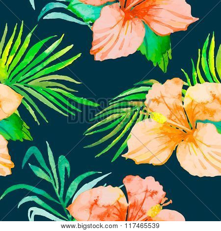 Hibiscus. Tropical plants seamless pattern and palm branches.. Exotic flower. Vector. Watercolor. Fo