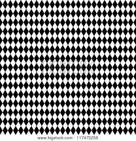Monochrome repeatable pattern with rhombus squares shapes. poster