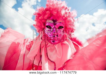 Man In Pink Masquerade Mask