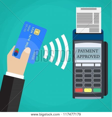 Pos terminal confirms the payment by debit card.