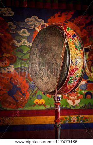 Gong (drum) in Spituk gompa (Tibetan Buddhist monastery). Ladadkh, India