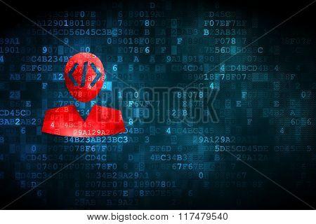 Software concept: Programmer on digital background