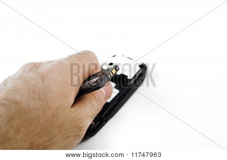 Mobile Phone Battery In Hand