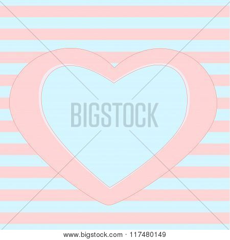 Decorative frame template, Heart frame on Seamless stripes background in pink and blue for nursery r