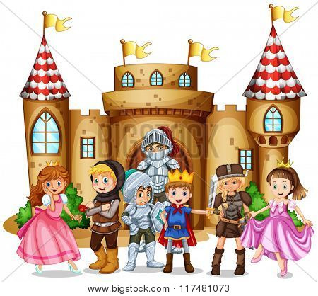 Characters from fairytales and castle illustration poster