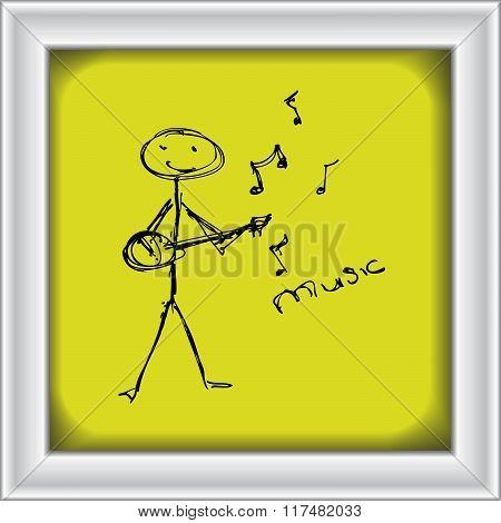 Stick Man Playing A Guitar