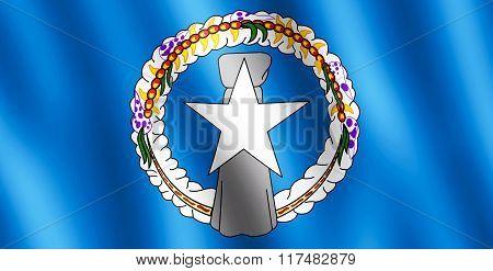 Flag Of Northern Mariana Island Waving In The Wind
