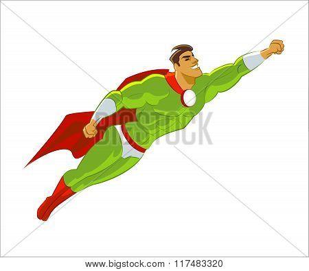 Superhero flying. Green. Power and pride. Vector illustration