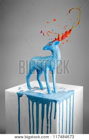Beautiful Magic Deer With Colorful Melting Horns