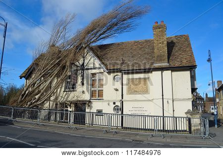 The Bridge tavern at St Neots with fallen tree on roof damage