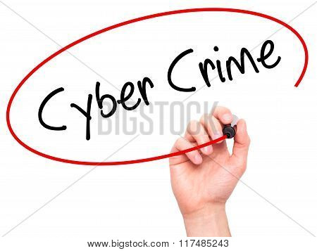 Man Hand Writing Cyber Crime With Black Marker On Visual Screen