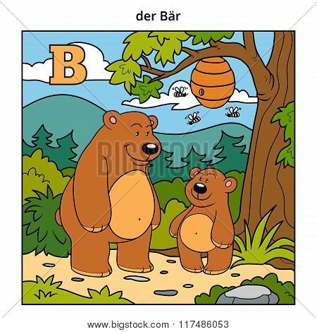 German Alphabet, Letter B (bears And Background)