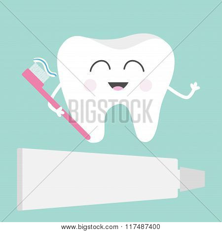 Tooth Icon. Toothpaste And Toothbrush. Cute Funny Cartoon Smiling Character. Children Teeth Care. Or