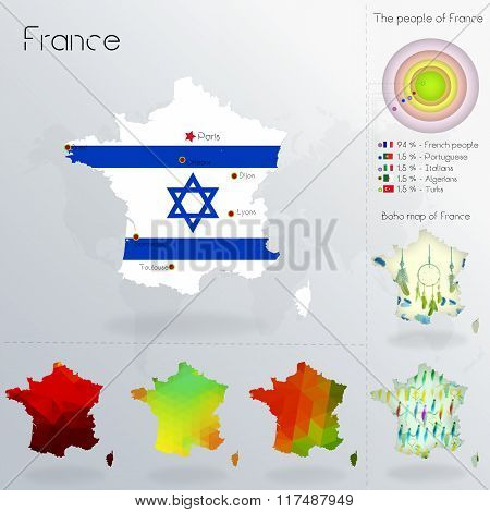 Modern Geometric And Political Map Of France. Jews Immigration To France. Jews Diaspora In France. B