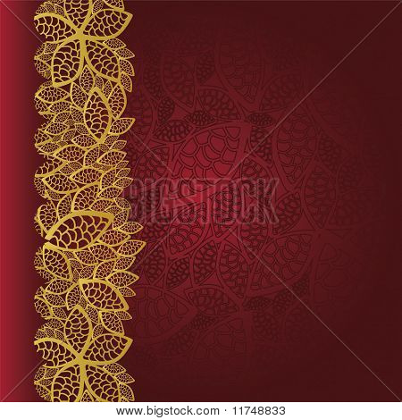 Red Background With Golden Leaves Border.eps