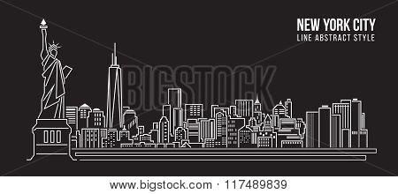 Cityscape Building Line Art Vector Illustration Design - New York City