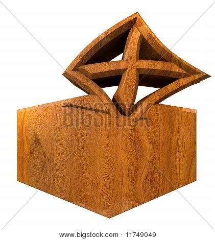 Symbol Of Placing A Voting Slip Into A Ballot Box Over A White Background In Wood
