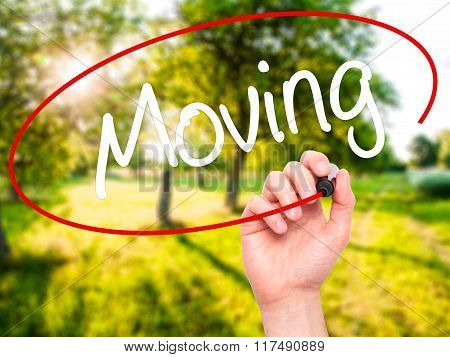 Man Hand Writing Moving With Black Marker On Visual Screen