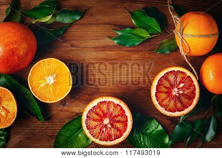 Still Life With Ripe Juicy Citrus Fruits