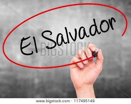 Man Hand Writing El Salvador With Black Marker On Visual Screen