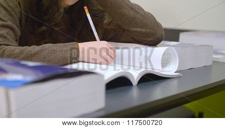 Student takes practice exam for SAT standardized test