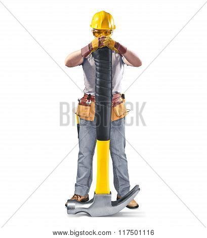 poster of construction worker in helmet with tool and hammer on white isolated background